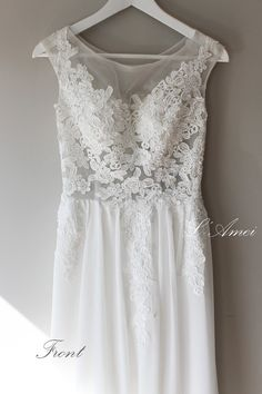 Floor Length Ivoryor White Lace Tulle and Chiffon Wedding от LAmei, $420.00