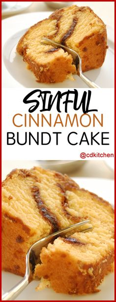 Sinful Cinnamon Bundt Cake - This delicious cake mix cake has ribbons of cinnamon running through it.    - Made with nuts, yellow cake mix, vanilla pudding mix, oil, water, eggs, vanilla extract, cinnamon, sugar | CDKitchen.com