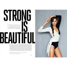 """SELF MAGAZINE Joan Smalls in """"Strong Is Beautiful"""" by Photographer... ❤ liked on Polyvore featuring text"""
