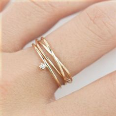 14k gold trinity ring, dainty rings, three rings, textured ring, hammered ring,stacking rings, 14k rose gold, white gold,…