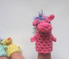 crochet puppet finger  small marionette Pony  toys 6 cm 24