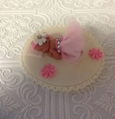 Niña TUTU BABY SHOWER pastel Topper de Fondant torta