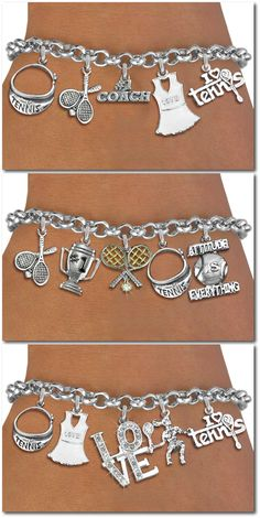 Tennis Five Charm bracelet - Silver Chain Bracelet W Silver And Genuine Austrian Crystal Charms
