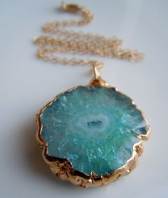 Teal Blue Stalactite Necklace in Gold