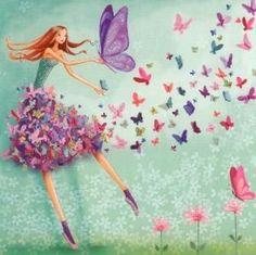 GOLLONG woman with butterflies - Mila Marquis postcard