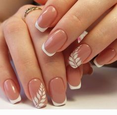 White and pink combo Elegant Bridal Nails, Elegant Nails, Classy Nails, Stylish Nails, Simple Nails, Chic Nails, French Manicure Nails, Manicure E Pedicure, Gel Nails