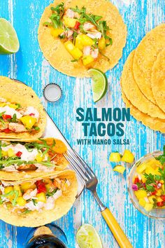 salmon tacos with mango salsa recipe from designlovefest. Fantastic flavours! Fish ingredients  • 1lb. fish (salmon, cod, tilapia, or halibut) • 1 t. lemon juice  • 1 t. paprika • 1/2 t. chili powder • 1/4 t. salt Chili Pepper Cream Sauce ingredients • 1/2 cup greek plain greek yogurt • 1/2 cup reduced fat mayo • zest and juice of 1 lime • 1/2 t. paprika • 1/2 t. chili powder • 1/2 t. oregano • 1/2 jalapeño, • 1 t. cilantro or parsley   Mango Salsa ingredients • 2 ripe mangos,  • 1/4 cup red onion, d • 1/4 cup red pepper,  • 1 t. cilantro or parsley, • zest and juice of 2 limes