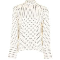 Polka Open Back Blouse by Boutique (6.590 RUB) ❤ liked on Polyvore featuring tops, blouses, topshop blouses, white polka dot top, polka dot top, white rayon blouse and white open back top