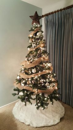 Burlap, white, gold, and silver Christmas tree. First ever home, first ever tree!