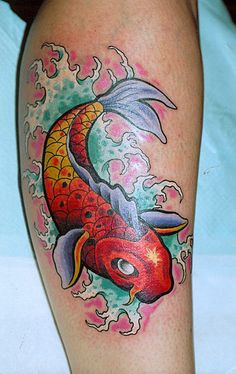 Koi fish and flowers look good in bright colours and could easily go a on a clothing item, canvas or even a poster.