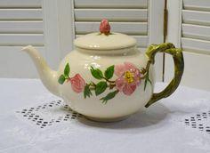Vintage Franciscan Desert Rose Teapot 1950s Backstamp Pink