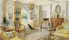 The sitting room of John Fowler's Hunting Lodge in 1948. Watercolor by Alexandre Serebriakoff.