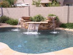 Sheer Descent Water Features True Blue Pools Arizona Is your pool boring and dull or lacking something that could make it truly striking Sometimes we dont always get the Small Outdoor Patios, Small Backyard Pools, Backyard Pool Landscaping, Backyard Water Feature, Backyard Pool Designs, Small Pools, Swimming Pools Backyard, Small Patio, Landscaping Ideas