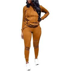 Women Casual Ripped Hole Pullover Hoodie Sweatpants 2 Piece Sport Jumpsuits Outfits Set (Yellow, L) 2 Piece Outfits, Two Piece Outfit, Very Short Dress, Jumpsuit Outfit, Fall Outfits For Work, Athletic Outfits, Long Pants, Casual Fall, Casual Tops