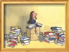 Roald Dahl - Matilda illustration by Quentin Blake Matilda Roald Dahl, Abc Poster, Poster Shop, Print Poster, Quentin Blake Prints, Quentin Blake Illustrations, Roald Dahl Stories, Classics To Read, Framing Canvas Art