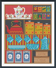 Vintage Cupboard Cross Stitch Pattern Instant Download