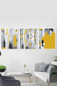 SET of 3 Wall Art Prints Gallery wall Grey and Yellow Abstract original Prints Modern art bold brush strokes bedroom living room art Grey Wall Art, Metal Tree Wall Art, Framed Wall Art, Wall Art Prints, Yellow Wall Art, Grey Art, Wall Mural, Framed Prints, Canvas Prints