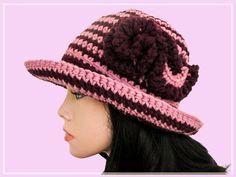 Crochet purple striped hat Pattern crocheted hat by HappyLenok
