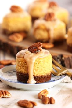 Mini Bourbon Pumpkin Praline Cheesecakes recipe from @suburbansoapbox