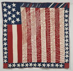 Embroidered Pieced Cotton Suffragette Fund-raising Quilt with Stars and Stripes, probably New York State, late 19th century