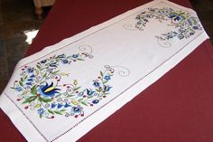 Linen table runner with Kashubian embroidery by Kashubian Art Gallery - Embroidery - iCraft.ca
