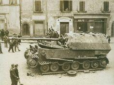 "Knocked-out German self-propelled artillery unit class tank destroyer 8,8 cm PaK 43/2 Sfl L/71 Panzerjäger Tiger (P) ""Elefant""."