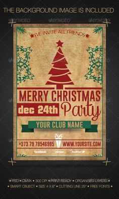 Buy Merry Christmas Party Flyer by DAYbyDAY on GraphicRiver. Fully layered 1 PSD Fully editable bleed) CMYK Print Ready Readme file Free fonts link Attached http.