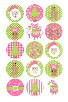 Pink and Green Christmas decor with printable circles which could be used on a countdown to Christmas craft.