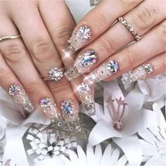 Buy Nail Art Glue Professional DIY Manicure Rhinestones Decorations Sticking Adhesive Alloy Jewelry Diamonds Paste Glue at Wish - Shopping Made Fun Clear Acrylic Nails, Bling Acrylic Nails, Rhinestone Nails, Bling Nails, Acrylic Nail Designs, Nail Art Designs, Gel Nails, Prom Nails, Coffin Nails