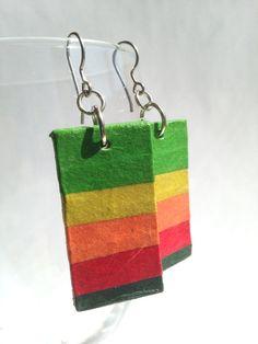 Rainbow Hanji Paper Dangle Earrings OOAK Striped by HanjiNaty, $12.00