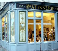 France~Blue 'Patisserie': Le Marais by curry15, via Flickr~ Wonderful that the original shopfront is saved no matter what product is sold!!!