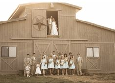 wedding party at the barn