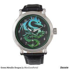 Green Metallic Dragon Watch Vintage Leather, Vintage Men, Vintage Black, Pocket Watches, Out Of Style, Cool Watches, Portal, Metallic, Dragon