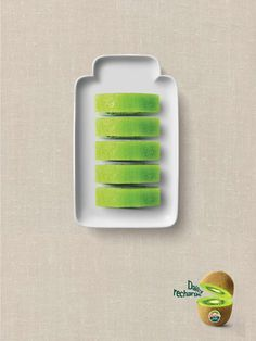 Zepri: Daily Recharge Daily Recharge Zespri wanted to communicate that kiwifruit can be a healthy alternative to coffee, and other energy drinks. We created a simple and powerful visual to express the health benefits of kiwifruit. Advertising Agency: DDB Korea, Seoul, South Korea Creative Director: Myung-ki Kim Art Directors: Young-Chan Kwon, Jaelim Jeon Copywriters: Myung-ki Kim, Yura Park Photographer: Hee-Hyun Ryu