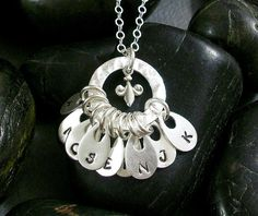 GRANDMOTHER Handstamped FLEUR de LIS and by TinyTreeTreasures