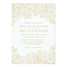 Romantic Gold Flowers on White Wedding Invitation.  Invitations are discount sale priced 40% OFF when you order 100+ Invites. #wedding  http://www.zazzle.com/romantic_gold_flowers_on_white_wedding_invitation-161098534209076912?rf=238133515809110851&tc=PinterestMsPlnr