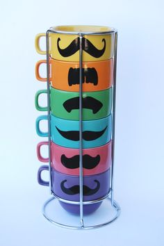Multi Color Mustache Coffee Mugs - set of 6 stackable mugs and chrome holder