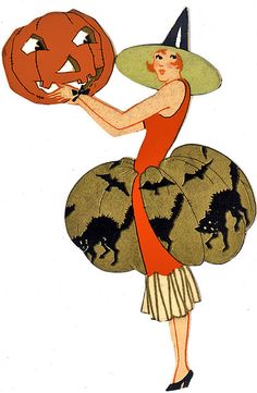 Darling Deco Flapper and Her JOL--Vintage Halloween Bridge Tally