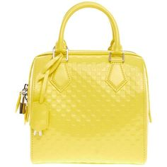 Pre-Owned Louis Vuitton Speedy Cube Facette PM ($940) ❤ liked on Polyvore featuring bags, bright yellow, real leather bags, zip handle bags, leather zipper bag, leather bags and leather strap bag