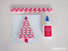 Christmas card made of paper straw. Christmas Cards To Make, Merry Christmas, Paper Straws, Diy And Crafts, Triangle, Card Making, Holiday Decor, Inspiration, Images