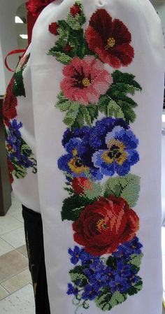 Items similar to vyshyvanka, hand embroidery beaded blouse, embroided women's shirt, handmade Ukrainian embroidery,Ukrainian clothing on Etsy Cross Stitch Rose, Cross Stitch Flowers, Cross Stitch Borders, Cross Stitch Designs, Cross Stitching, Cross Stitch Patterns, French Knot Embroidery, Embroidery Monogram, Beaded Embroidery