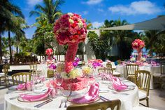 Tall centerpieces allow your guests to talk to one another across the table! #DreamsSandsCancun #Mexico #Destinationwedding
