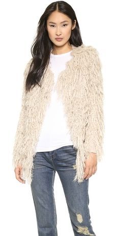 This is the one I want! It's not curly but still!  Free People Faithful Shaggy Cardigan | SHOPBOP