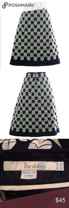"Anthro Boden A-line Navy & White Floral Skirt 16 Anthropologie. A-Line Skirt by Boden. Size 16 Regular. Retail: $108. Navy blue and white. Floral embroidered pattern. Fully lined. Two on-seam pockets. Concealed zipper in back. Exterior: 100% Cotton. Lining: 100% Polyester. Machine wash. Style number: WG529. Knee-length on 5'5"" woman. Waist: 38-41"". Hips: 46-48"". Length: 21.75"" New without tags. Never worn. No flaws. 🛍20% Off Bundles of 2+ Items! Anthropologie Skirts A-Line or Full"