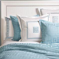 blue and white greek key bedding!