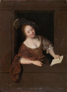 Jacob Ochtervelt(Rotterdam Amsterdam) - A woman singing, signed in the lower middle: Jacob Ochtervelt, oil on panel, x cm Cleveland Museum Of Art, Art Institute Of Chicago, Hermitage Museum, Norton Simon, Woman Singing, Dutch Golden Age, Old Paintings, Drawing Lessons, Old Master