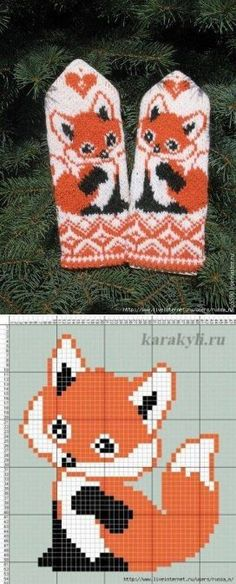 Crochet kids mittens pattern 55 ideas for 2019 Mittens Pattern, Knit Mittens, Knitting Socks, Baby Knitting, Fox Pattern, Knitting Charts, Knitting Stitches, Knitting Patterns, Crochet Patterns