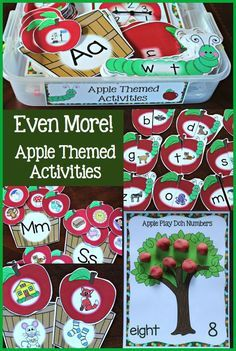 Tons of apple themed activities. Great for early reading and math centers!