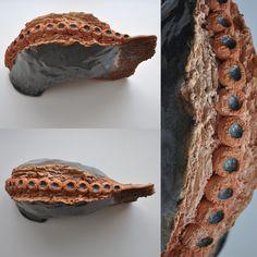 headless ceramic fish; fired and glazed clay by iza hazell