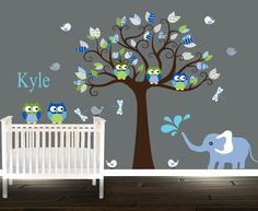 Blue personalized nursery tree decal owl wall by BeautifulWalls